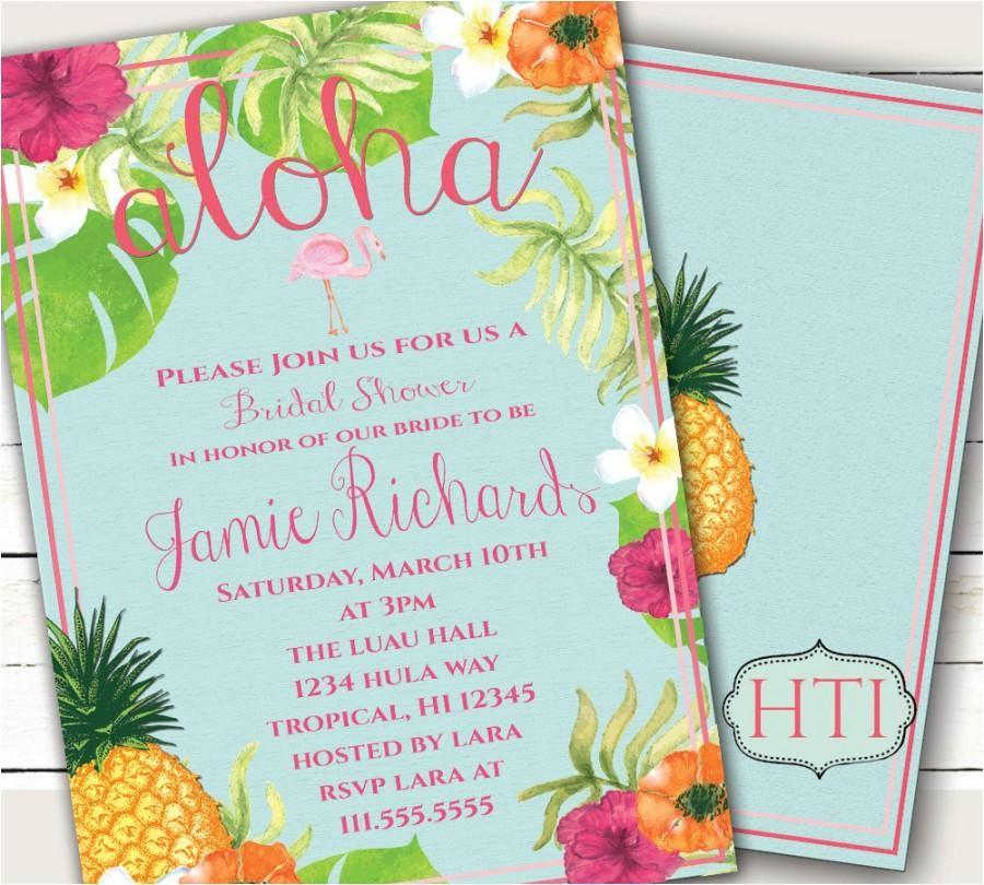 luau invitation aloha luau bridal shower hawaii invitation tropical invitation pineapple flamingo wedding printable 5x7 invitation