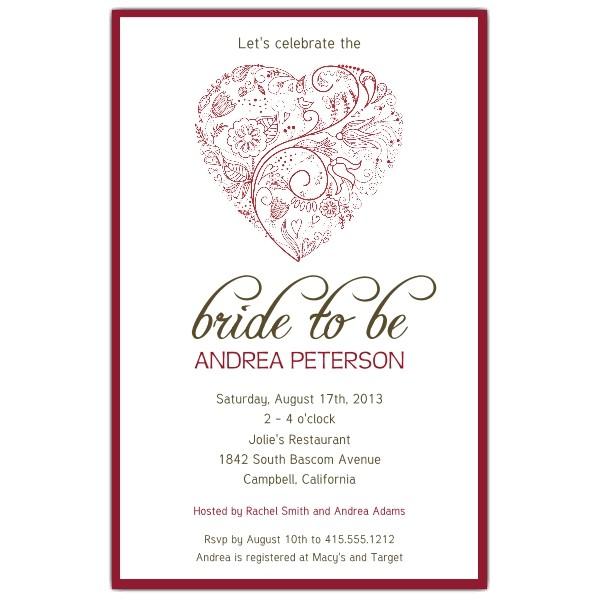 bridal shower invitations hearts
