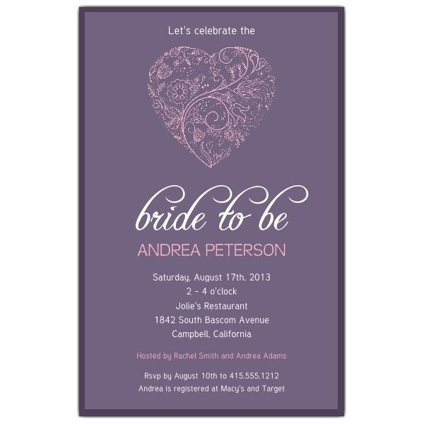 Heart Purple Bridal Shower Invitations p 605 58 SM104