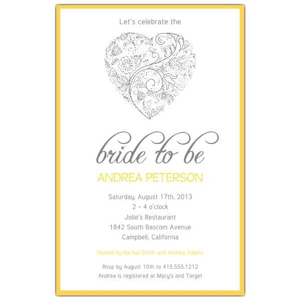 Heart Yellow Bridal Shower Invitations p 605 58 SM103