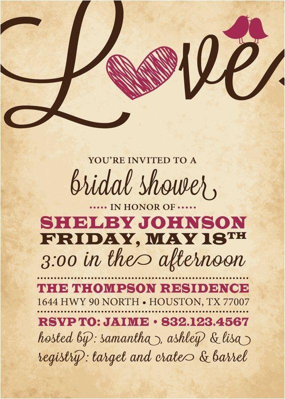Heart Bridal Shower Invitations Rustic Bridal Shower Invitation Love Heart Black Pink