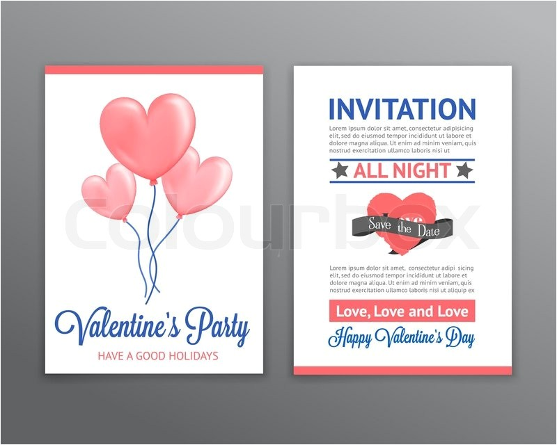 valentine s invitation with heart shaped balloons vector 12328330