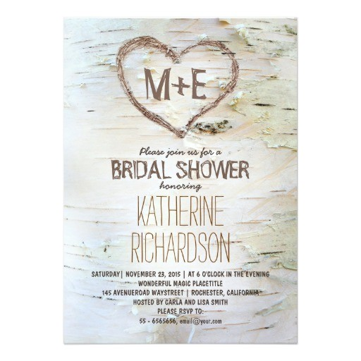 birch tree heart rustic bridal shower invites 161968753432276725