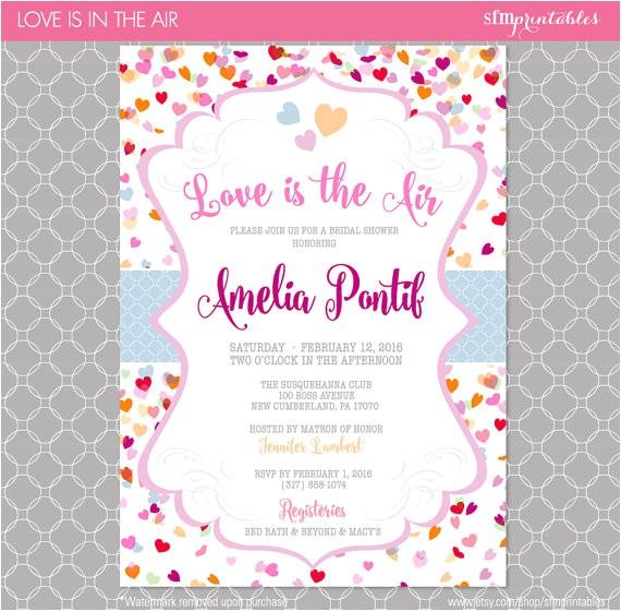 valentines bridal shower invitation hearts themed