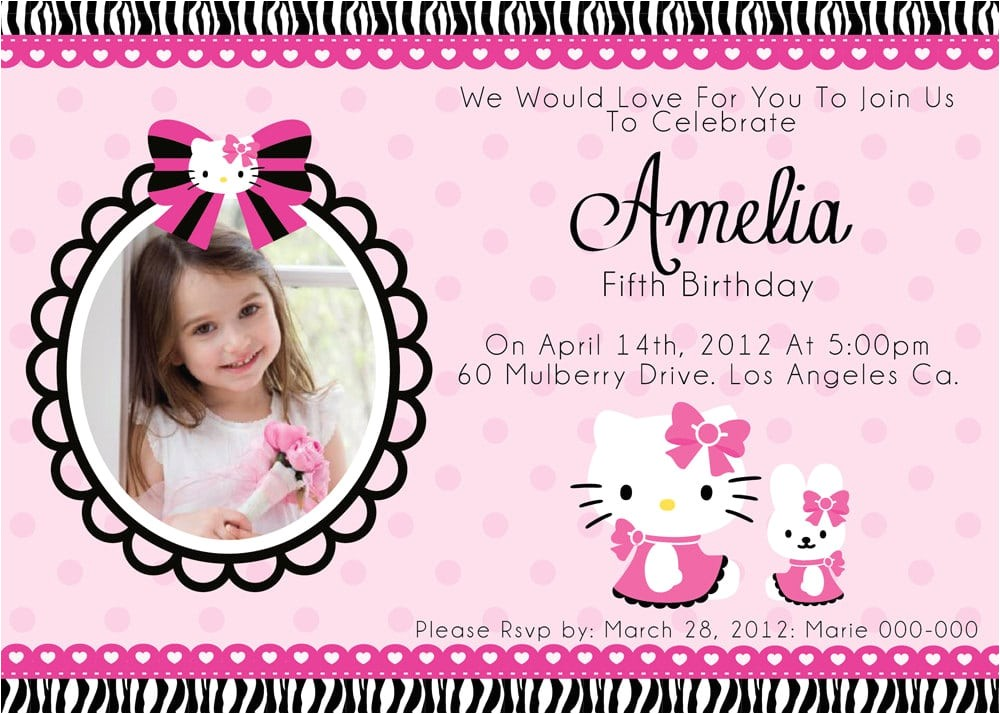 christening invitation hello kitty blank template
