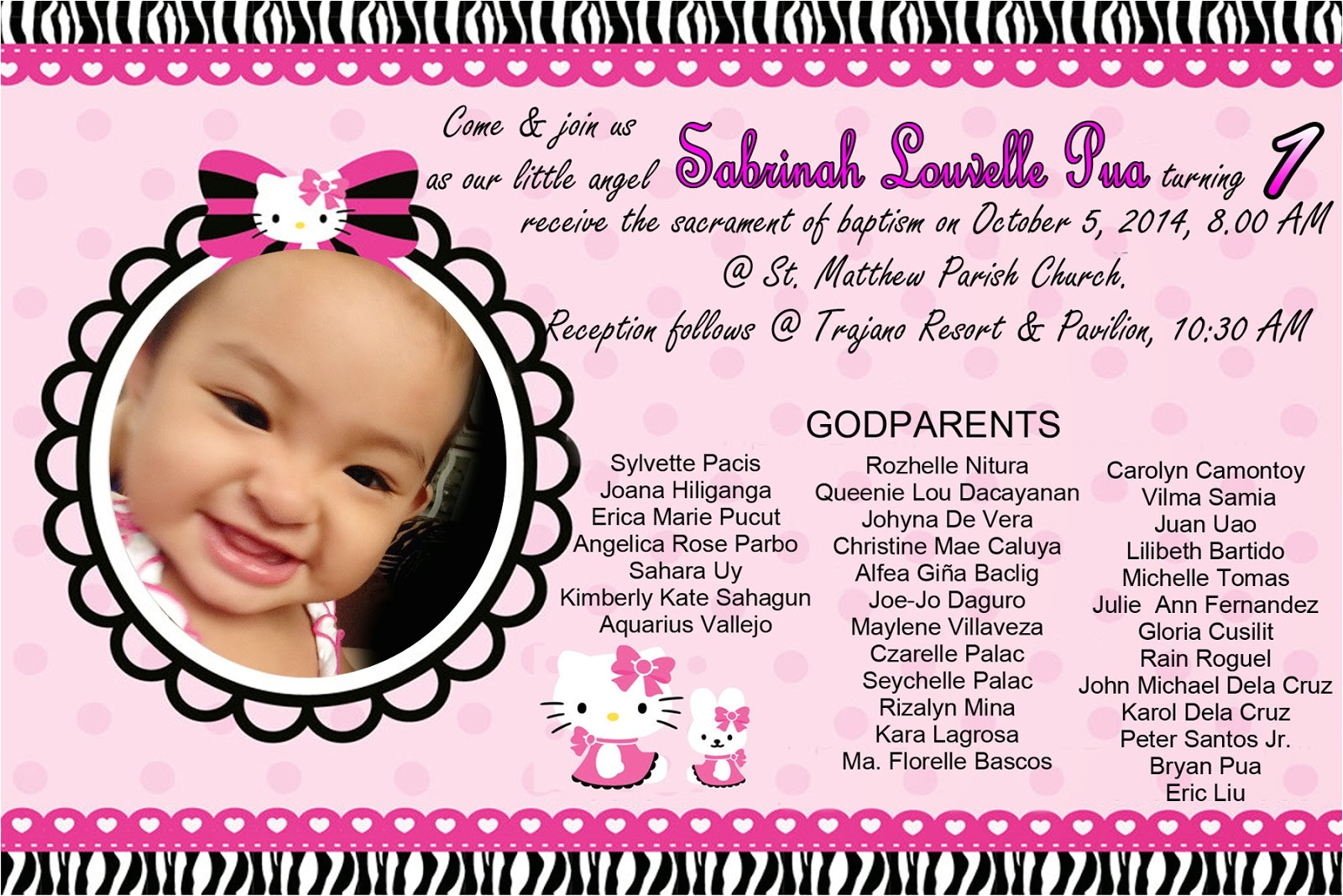 hello kitty invitation for christening