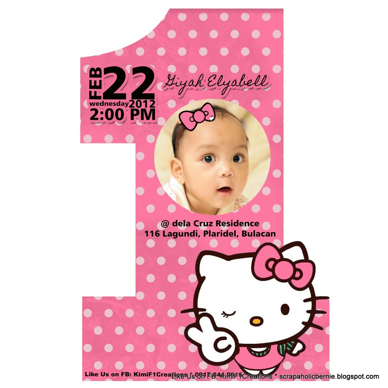 Hello Kitty First Birthday Party Invitations F1 Digital Scrapaholic Hello Kitty 1st Birthday 2 Page