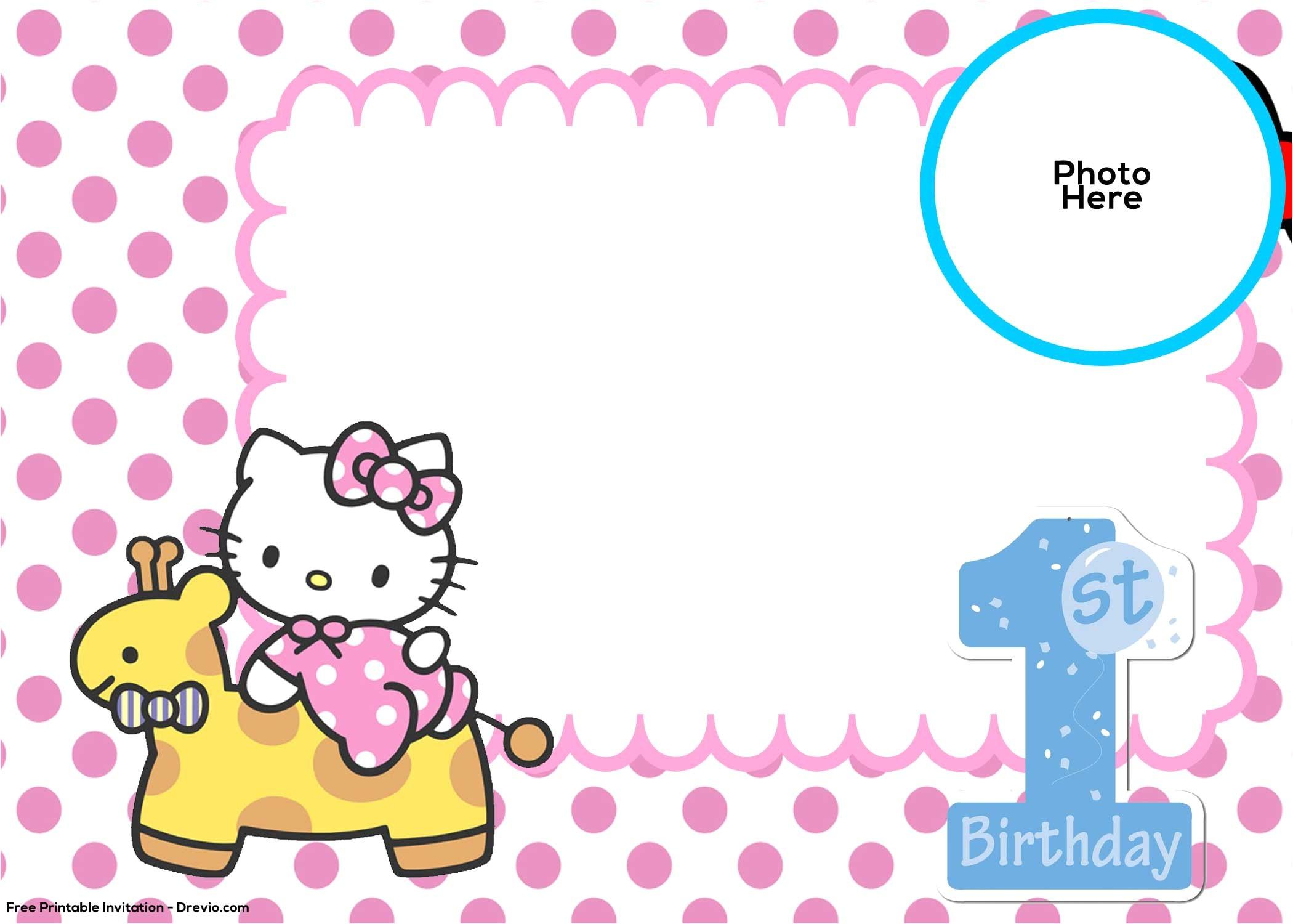free hello kitty 1st birthday invitation template