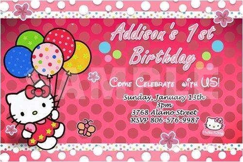 hello kitty birthday party invitation 1st customizable first 320816661493