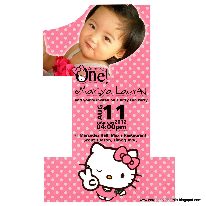 invitation card for 1st birthday hello kitty