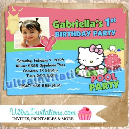 pool party hello kitty birthday photo invitations
