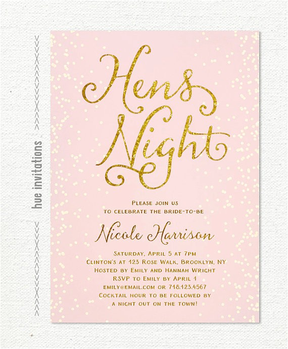 hens party invitation pink and gold