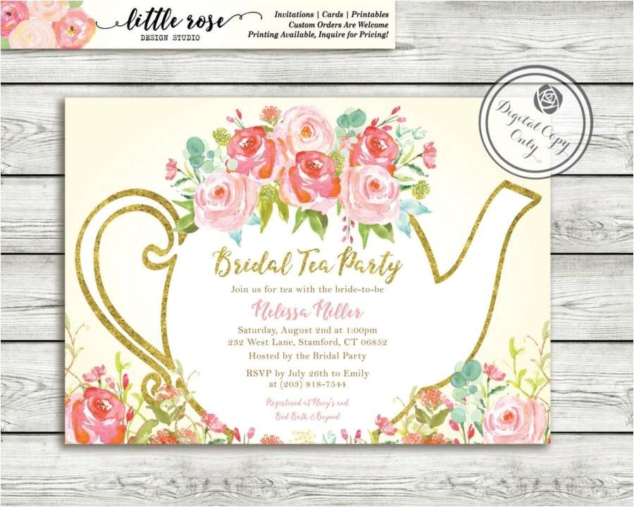 garden tea party bridal shower invitation high tea invite bridal tea wedding shower hand painted roses printable lr1051