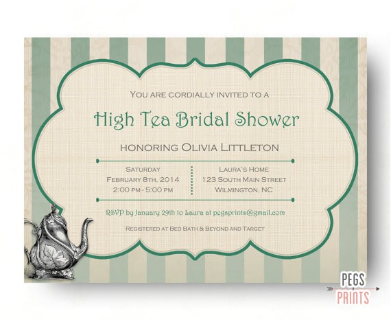 high tea bridal shower invitation