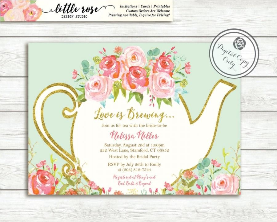 love is brewing bridal shower invitation garden tea party high tea invite bridal tea wedding shower printable lr1050
