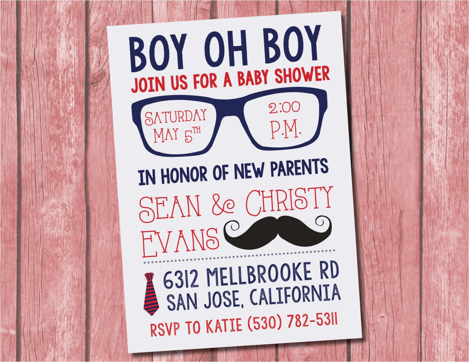 hipster baby shower invitation 15 pack