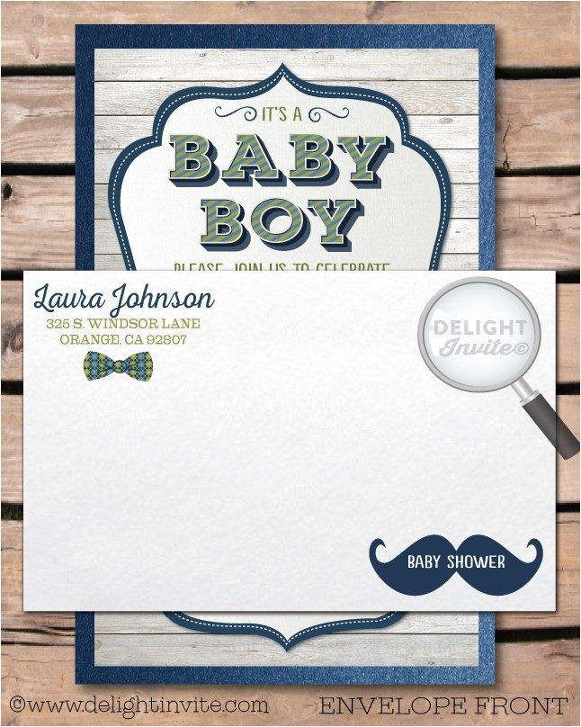 hipster baby shower mustache invitation envelope p 2039