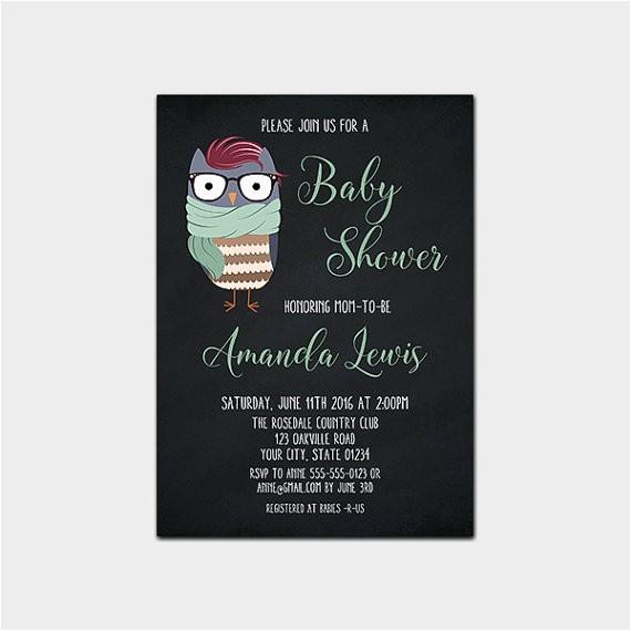 hipster baby shower printable invitation