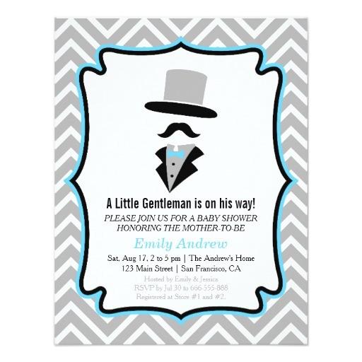 hipster moustache gentleman baby boy shower invitation