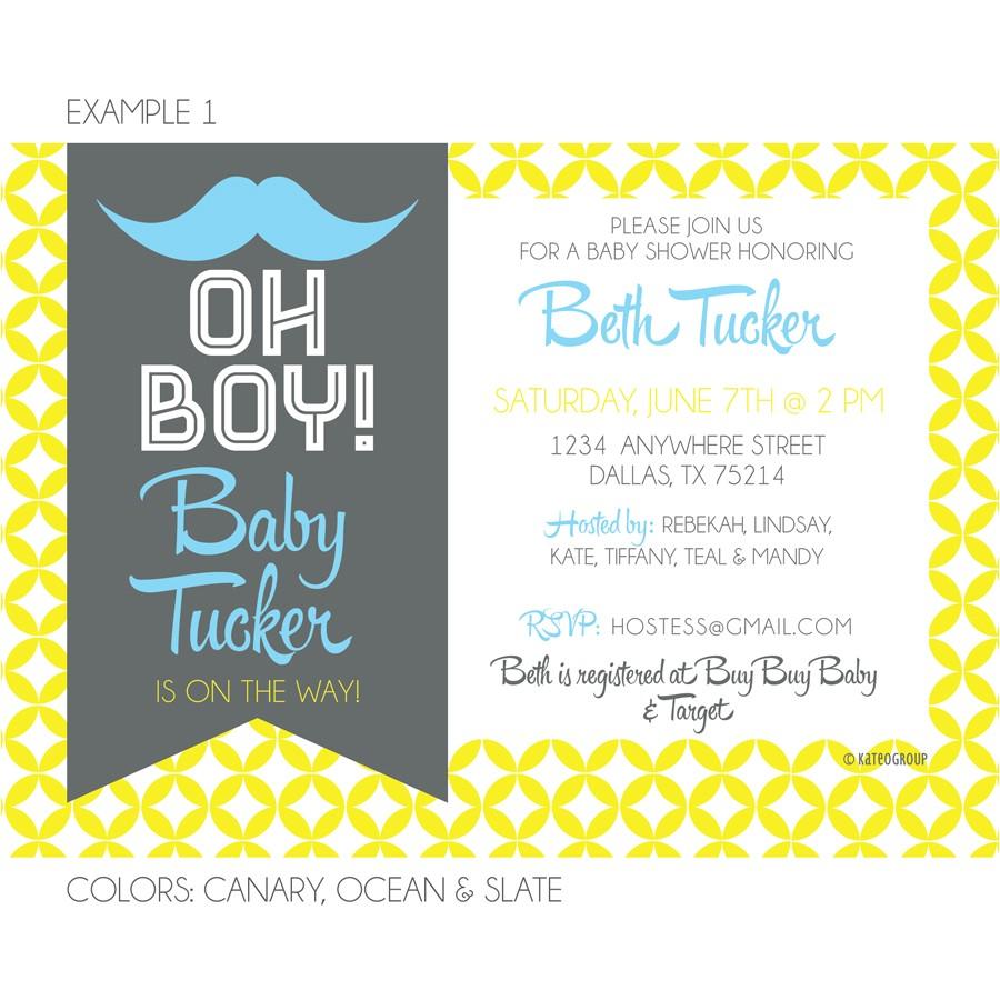 hipster mustache baby shower invitation