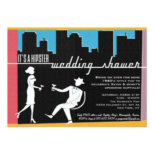 hipster 1960s wedding or bridal shower invitation