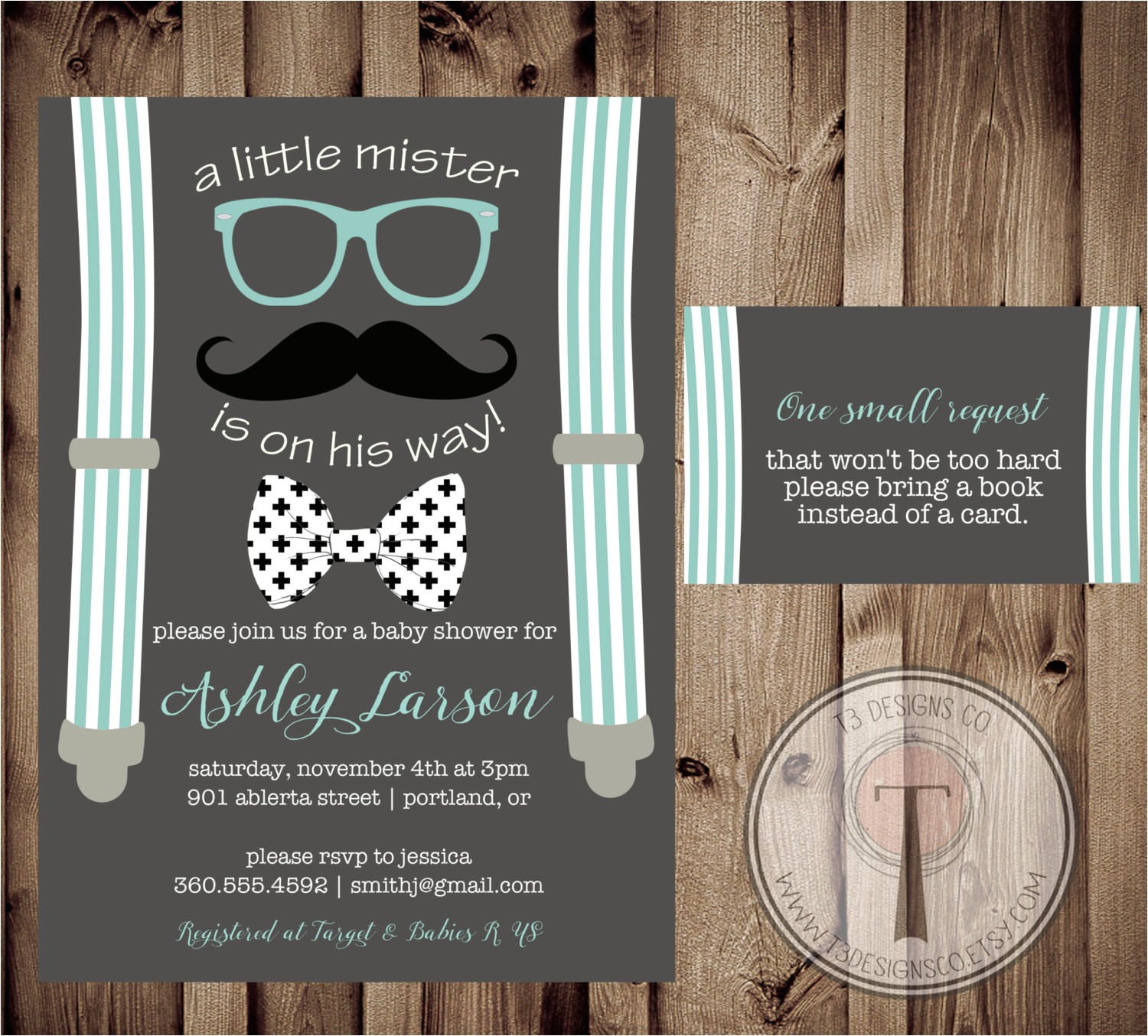 little man baby shower invitation and book request card littl