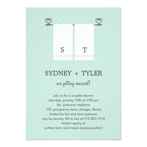 his and hers wedding shower invitation blue