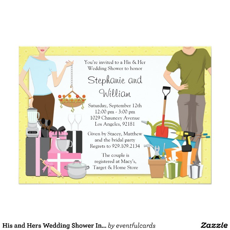his and hers wedding shower invitation