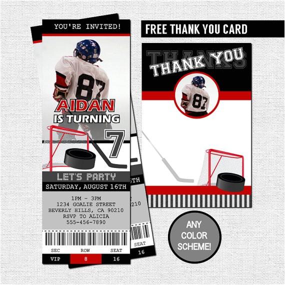 hockey ticket invitations free thank you