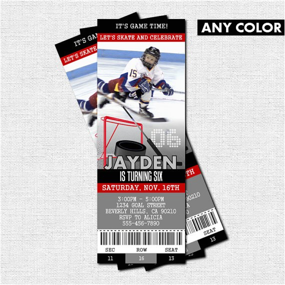 hockey ticket invitations skate birthday