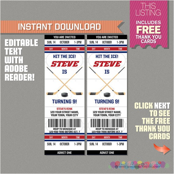 ice hockey ticket invitation with free