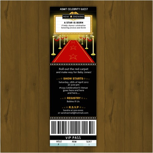 hollywood baby shower invitation ticket style a star is born