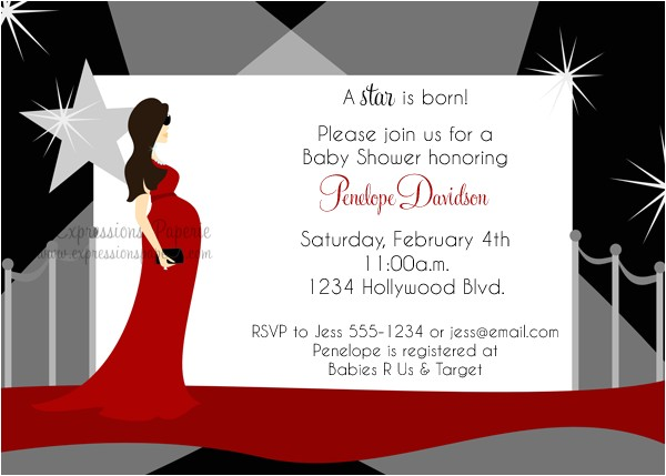 Hollywood Mommy to be Baby Shower Invitations