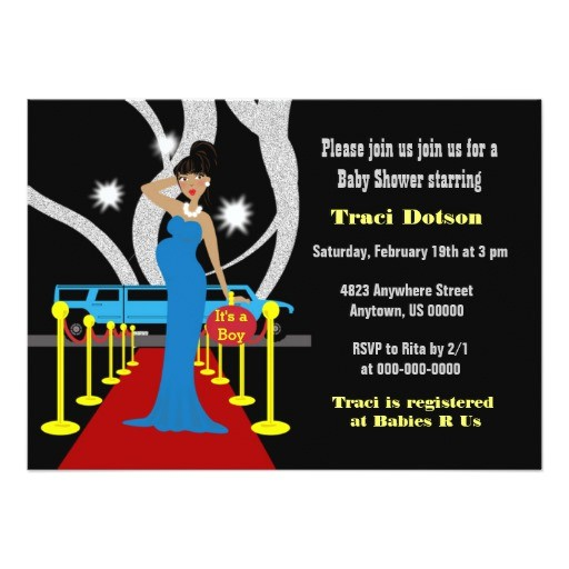 red carpet hollywood baby shower invitation boy