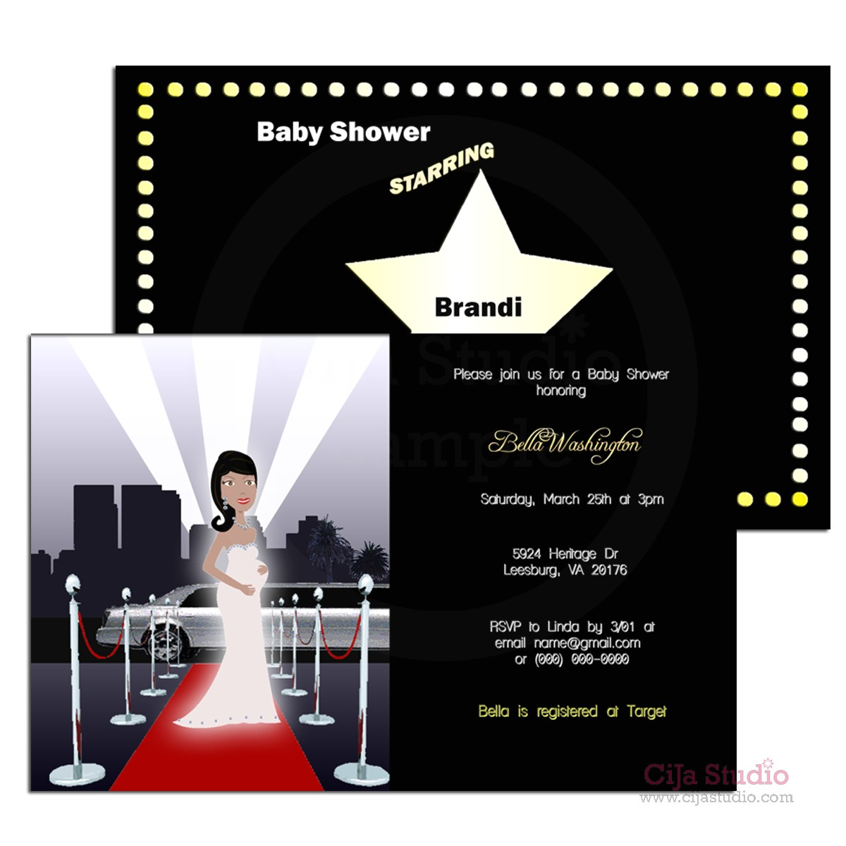 redcarpet hollywood baby shower invitations choice of mom to be diy 10