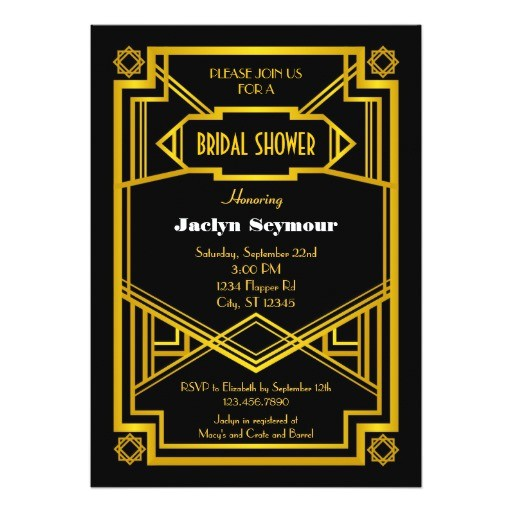 1920s hollywood style bridal shower invitation 161090467502676672
