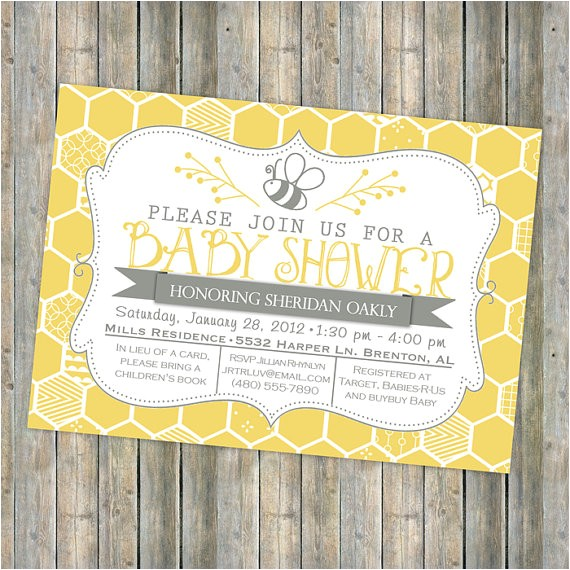 bee baby shower invitation bee and honey