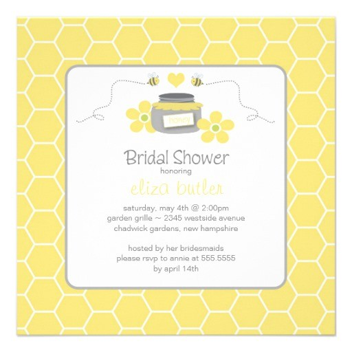 honey bee honey b yellow bridal shower invitation