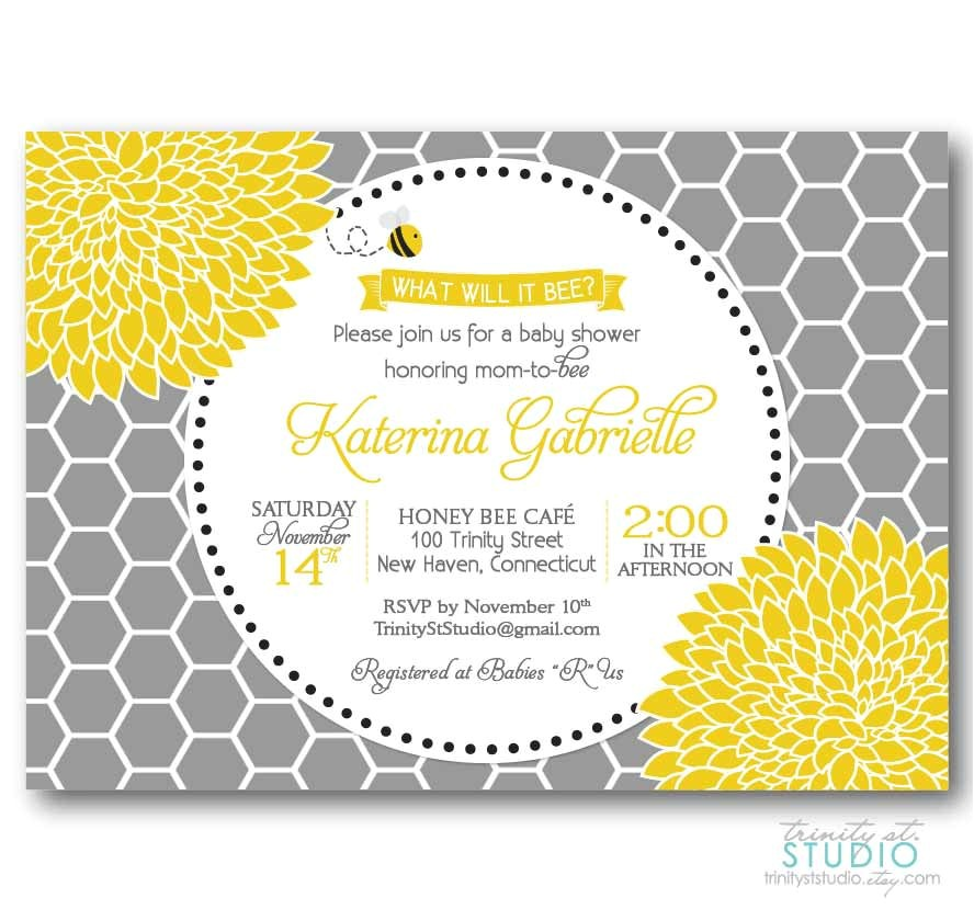 honey bee invitation baby or bridal