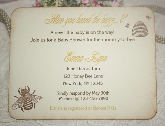 baby shower invitation honey bee