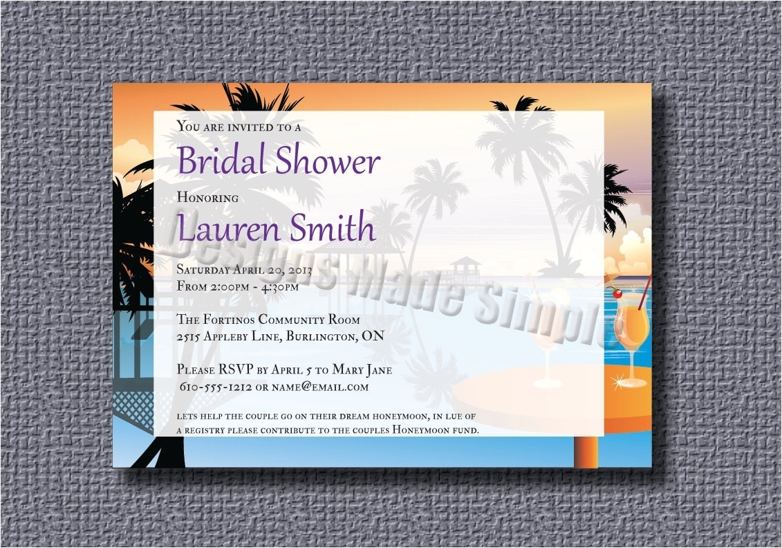 honeymoon themed bridal shower invitations