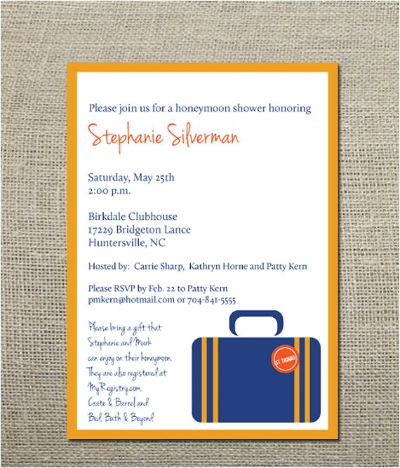 honeymoon wedding shower invitation