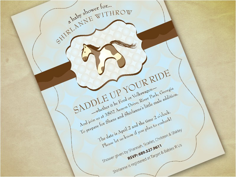 baby shower invitations horse theme