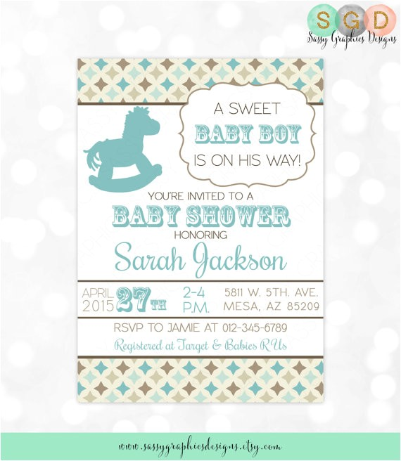 boys baby shower invitation rocking horse