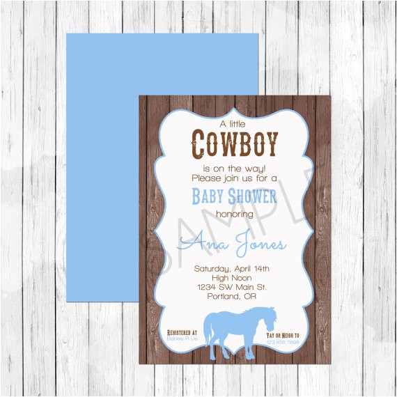 cowboy horse theme baby shower invitation or evite farm th