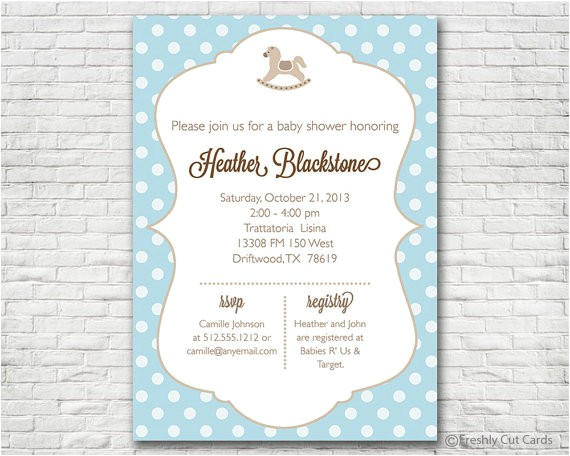 rocking horse polka dots baby shower