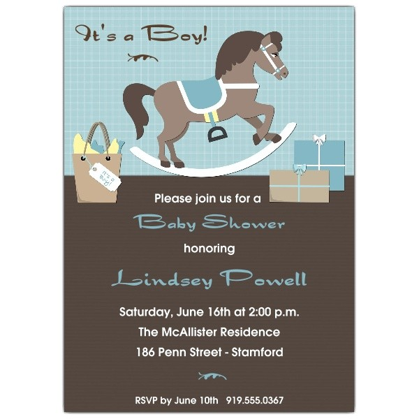 Rocking Horse Boy Baby Shower Invitations p 625 57 002