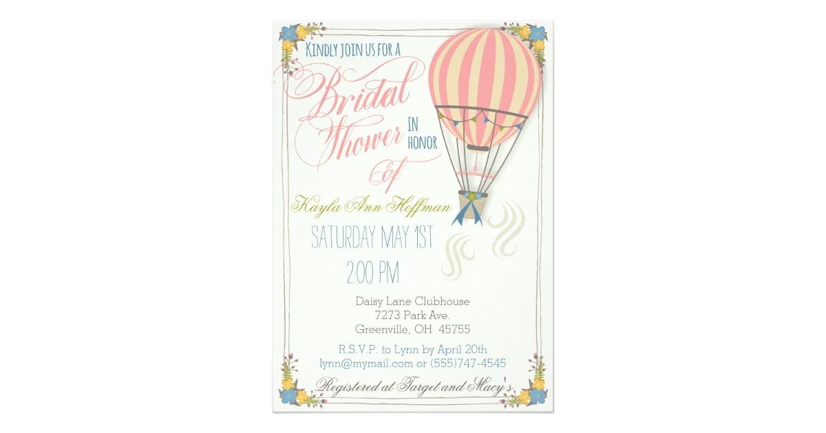 hot air balloon bridal shower invitation card