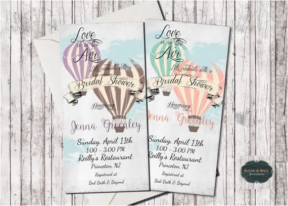 hot air balloon invitation wedding