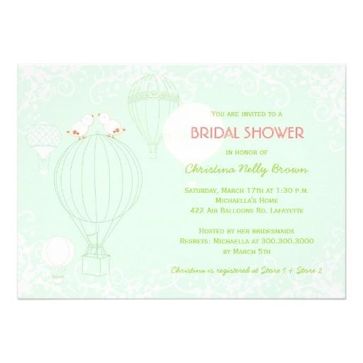 hot air balloons spring mint bridal shower invites